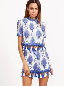 Blue And White Tassel Trim  Botanical Print Mesh Overlay Top With Shorts