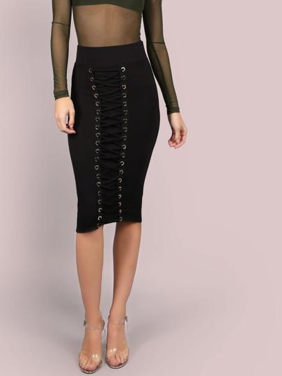 Lace Up Grommet Midi Skirt