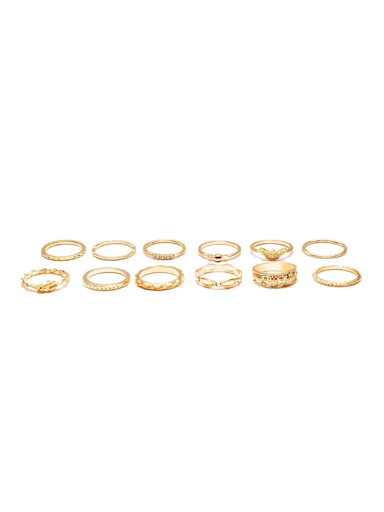 Фото Gold Plated Embellished Ring Set. Купить с доставкой
