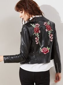 Black Faux Leather Embroidered Rose Applique Biker Jacket