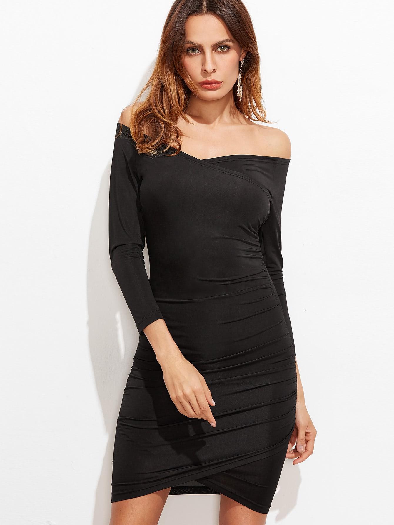 Black Off The Shoulder Ruched Overlap Bodycon Dress