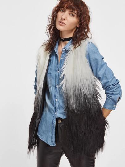 Ombre Open Front Faux Fur Vest