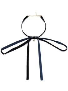 Navy Tie Front Velvet Choker Necklace
