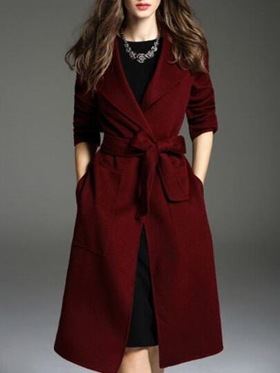 Burgundy Lapel Tie-Waist Pockets Coat