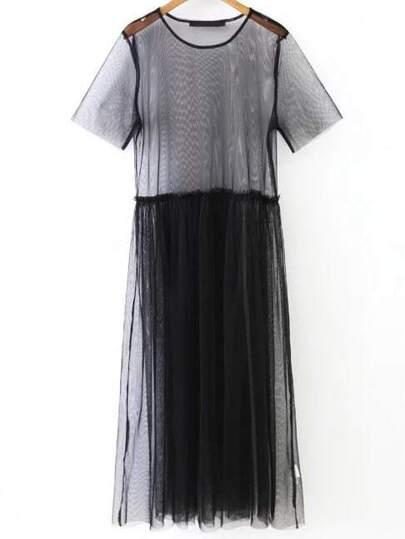 Black Short Sleeve Sheer Mesh Dress