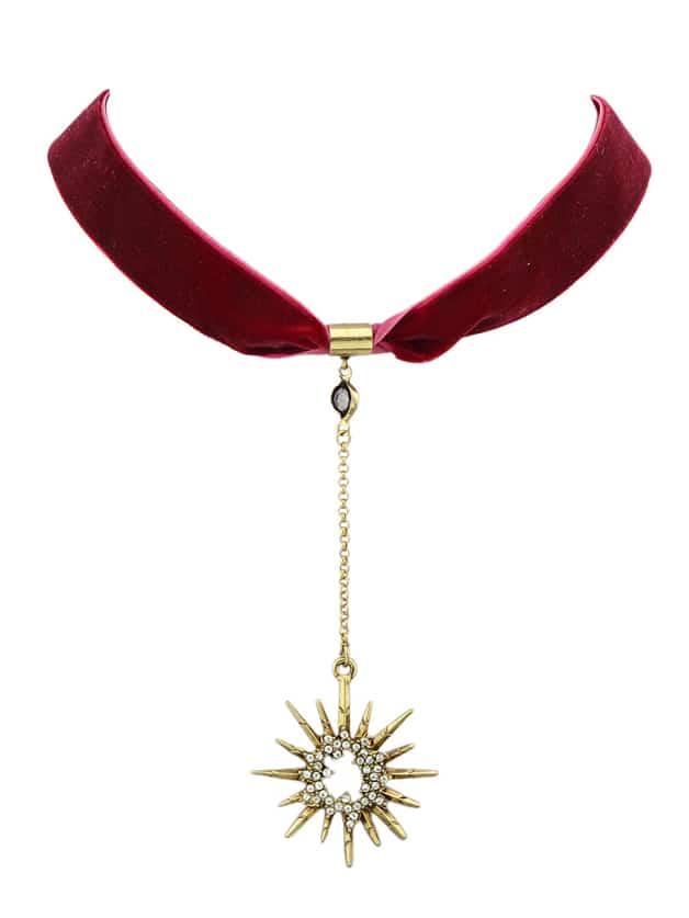 Red Velvet Wide Choker Necklace