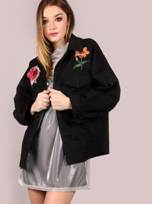 Oversized Floral Patch Jacket BLACK