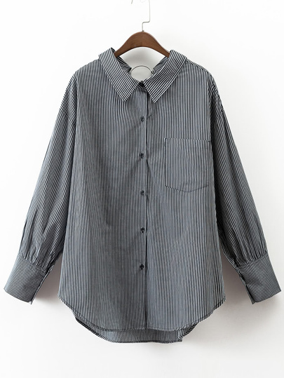 Vertical Striped Ring Detail High low Blouse With Pocket