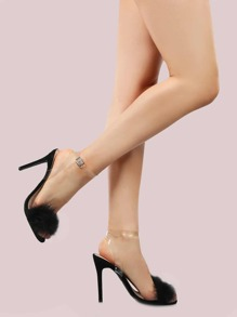 Open Toe Feather Stiletto Heels BLACK