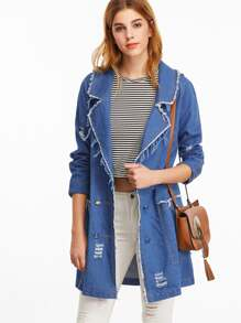 Cappotto Denim Strappato Con Bottoni - Blu