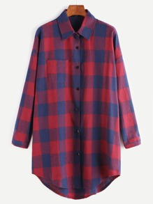 Check Plaid Drop Shoulder Curved Hem Shirt Dress