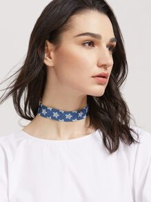 Light Blue Gothic Star Print Denim Choker Necklace