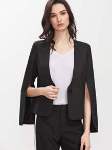 Black Split Sleeve Collarless One Button Blazer