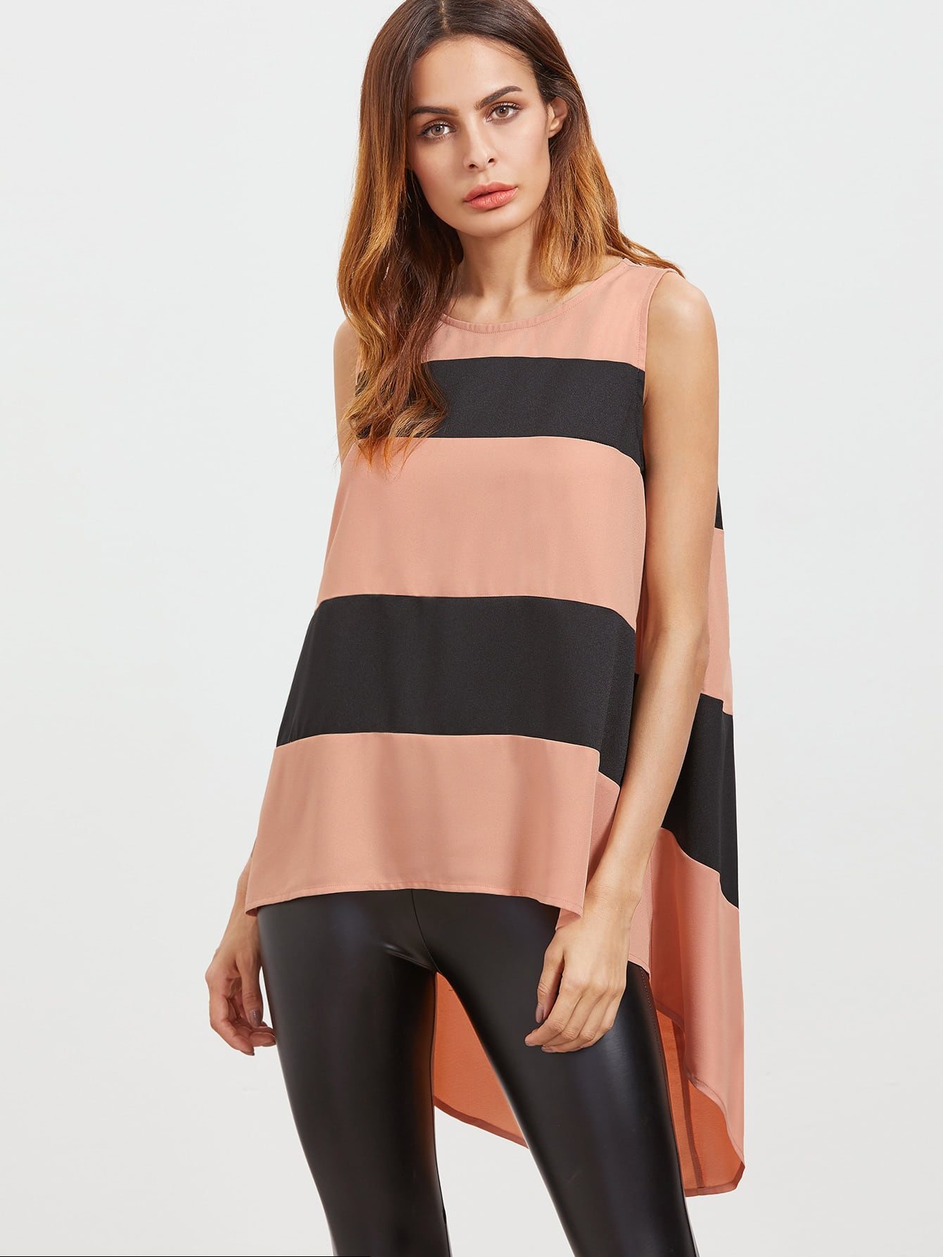 Contrast Wide Striped Keyhole Back High Low Sleeveless Top vest161227704
