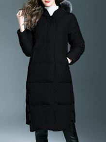 Black Zipper Pockets Hooded Long Coat