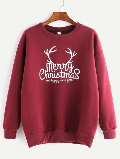 Burgundy Ribbed Trim Christmas Print Sweatshirt