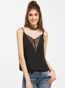 Plunge Neck Lace Insert Cami Top