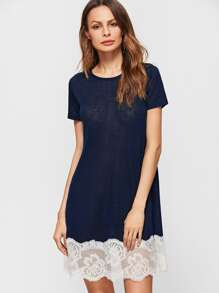 Navy Contrast Floral Lace Trim Tee Dress