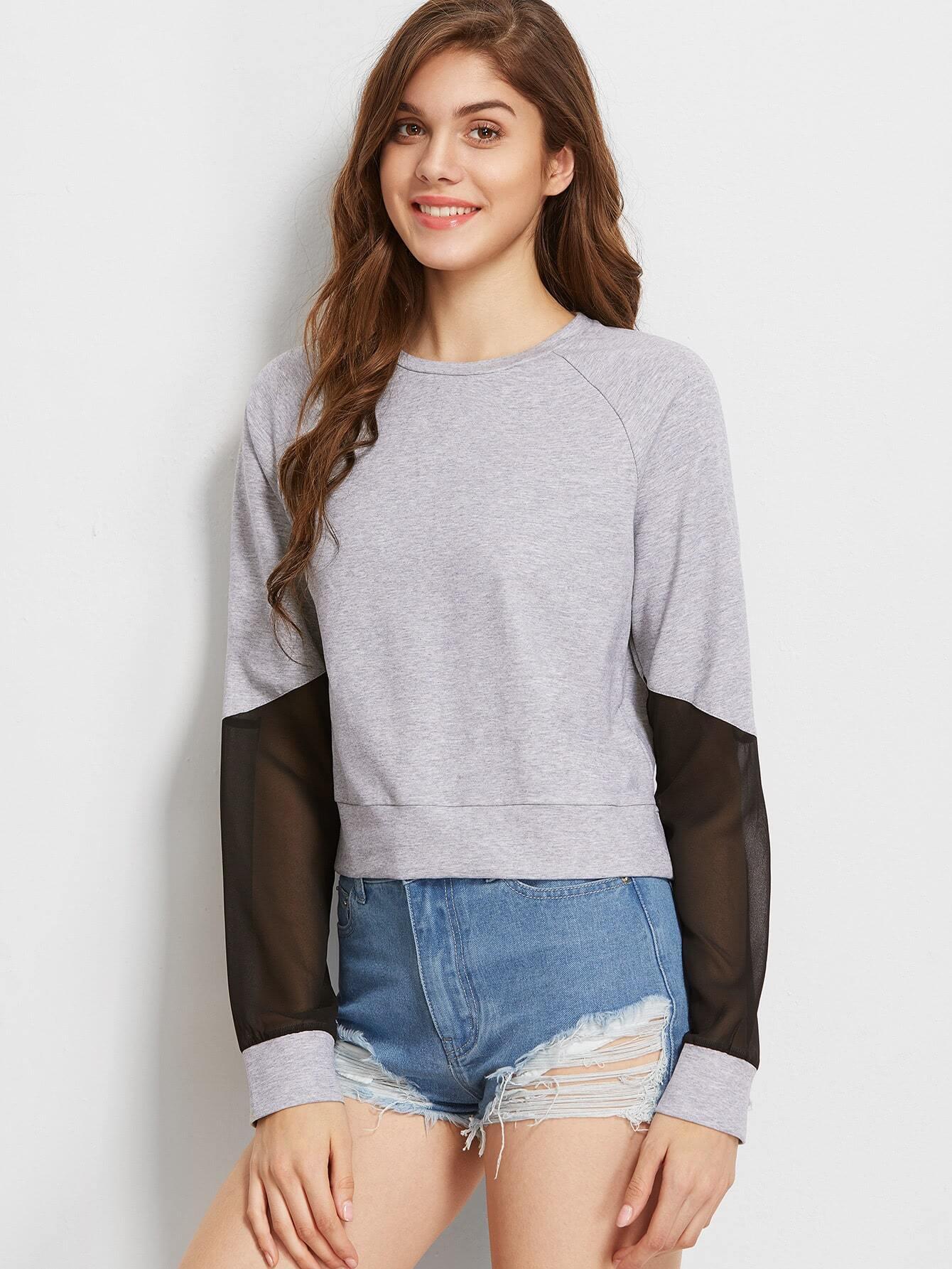Heather Grey Mesh Insert Raglan Sleeve Sweatshirt two tone raglan sleeve sweatshirt