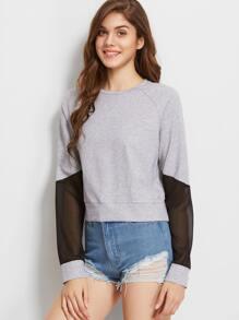 Sweat-shirt de maille inserte à manche raglan -gris bruyère