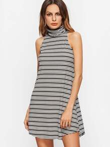 Black And White Striped Turtleneck Curved Hem Sleeveless Dress