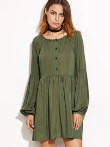 Olive Green Half Placket Lantern Sleeve Tiered Dress