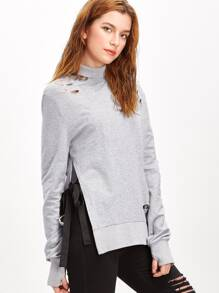 Heather Grey Turtleneck Bow Tie Split Side Distressed Sweatshirt
