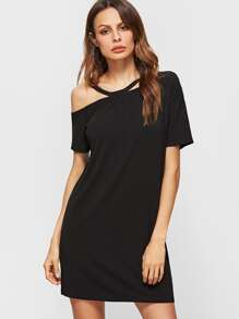 Black Asymmetric Cold Shoulder Short Sleeve Tee Dress