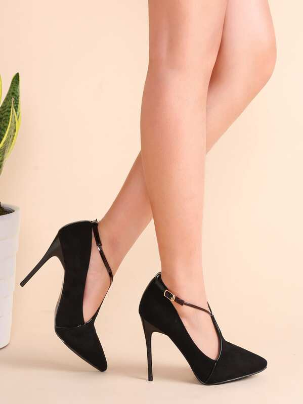 Black Suede Point Toe Cross Strap Stiletto Pumps, null
