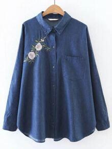 Blue High Low Flower Embroidery Pocket Denim Blouse