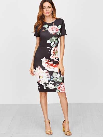 Облегающее платье-футляр с принтом розы