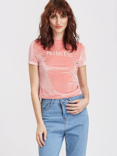 Pink Letter Embroidered Short Sleeve Velvet T-shirt