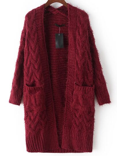 Burgundy Cable Knit Mohair Sweater Coat With Pocket