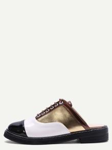 Pantofole Con Lacci Pelle Toppa - Multicolore