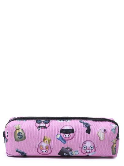 Bolso de maquillaje con estampado - rosa