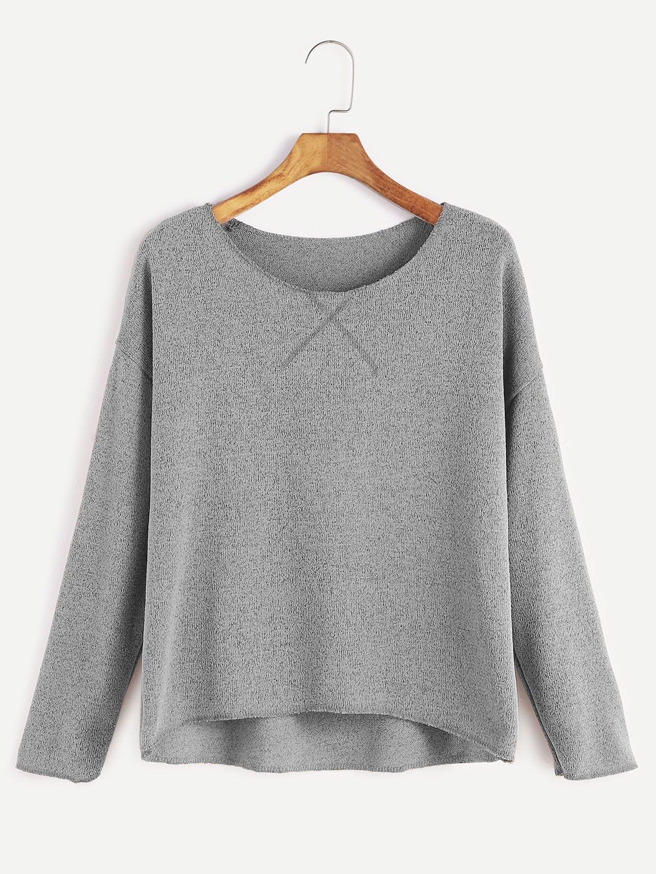 Grey Drop Shoulder Dip Hem T-shirt tee161206104