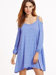 Blue Marled Cold Shoulder Lantern Sleeve Swing Dress