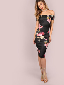 Bardot Neckline Floral Bodycon Midi Dress BLACK