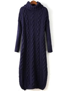 Navy Cable Knit Turtleneck Slit Maxi Sweater Dress