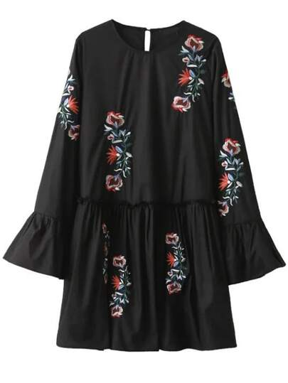 Black Embroidery Bell Sleeve Ruffle Dress
