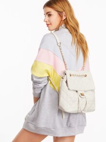 White PU Quilted Flap Drawstring Backpack