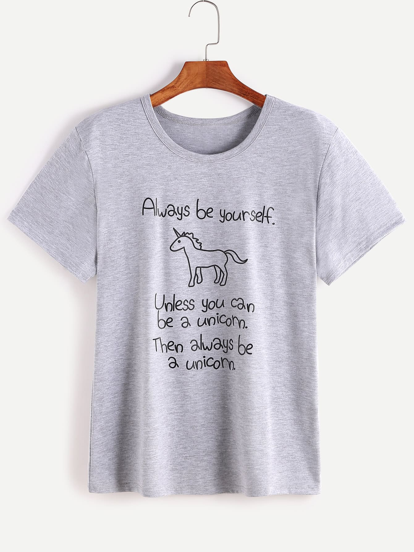 Heather Grey Slogan Print Short Sleeve T-shirt