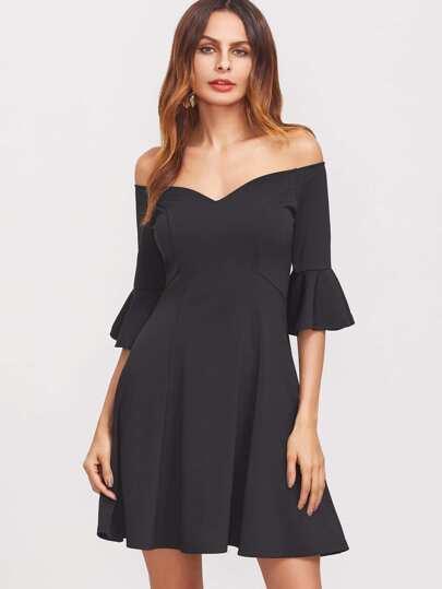 Black V Notch Off The Shoulder Ruffle Sleeve Skater Dress