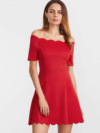 Scallop Edge Bardot Neckline Fit And Flare Dress