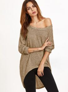 Khaki One Shoulder Dip Hem T-shirt