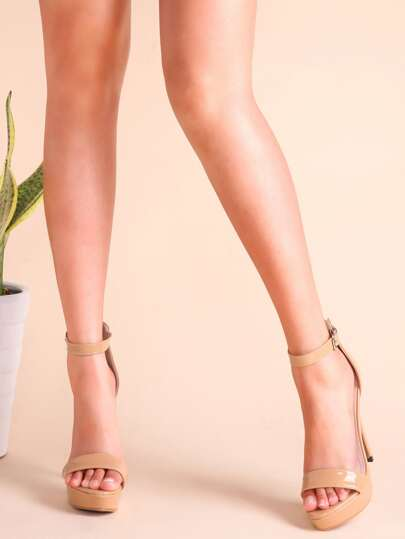 Apricot Patent Leather Ankle Strap Stiletto Heel Sandals