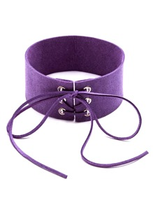 Purple Lace Up Tie Front Suede Wide Choker