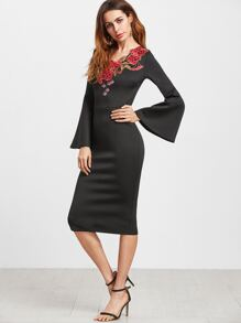 Black Embroidered Flower Applique Bell Sleeve Pencil Dress