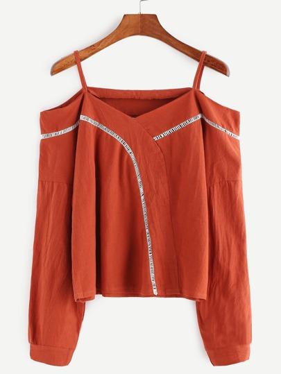 Orange Cold Shoulder Contrast Trim Top