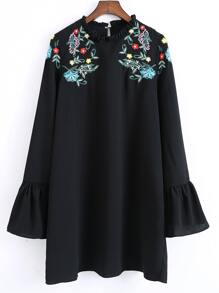 Black Frilled Collar Bell Sleeve Embroidered Dress